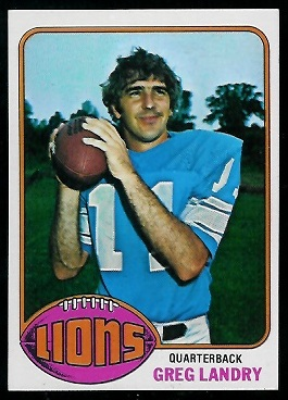 Greg Landry 1976 Topps football card