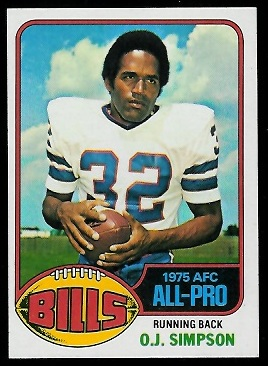 O.J. Simpson 1976 Topps football card