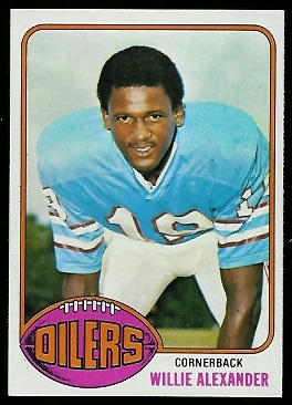 Willie Alexander 1976 Topps football card