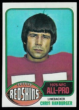 Chris Hanburger 1976 Topps football card