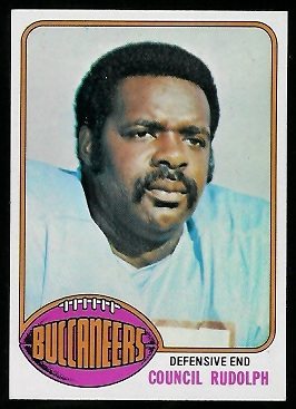 Council Rudolph 1976 Topps football card