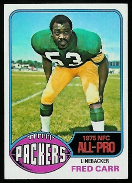 Fred Carr 1976 Topps football card