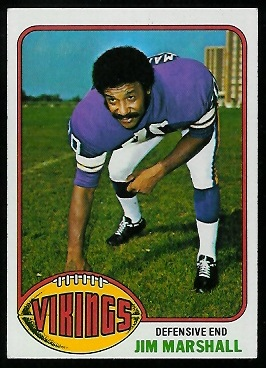 Jim Marshall 1976 Topps football card