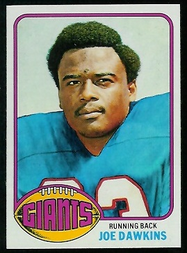 Joe Dawkins 1976 Topps football card