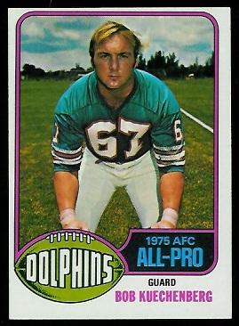 Bob Kuechenberg 1976 Topps football card