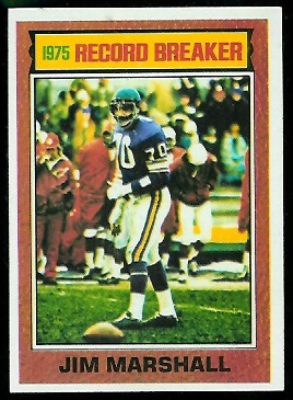Jim Marshall: Record Breaker 1976 Topps football card