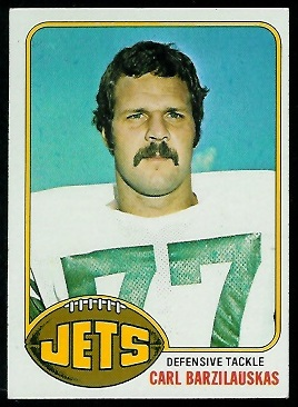 Carl Barzilauskas 1976 Topps football card