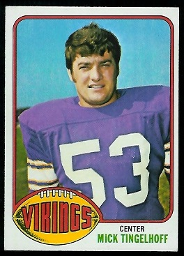 Mick Tingelhoff 1976 Topps football card