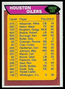 Houston Oilers checklist 1976 Topps football card