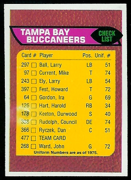 Tampa Bay Buccaneers checklist 1976 Topps football card