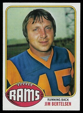 Jim Bertelsen 1976 Topps football card