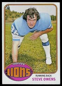 Steve Owens 1976 Topps football card