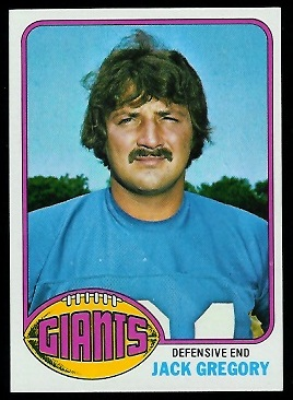 Jack Gregory 1976 Topps football card