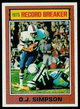 O.J. Simpson: Record Breaker 1976 Topps football card