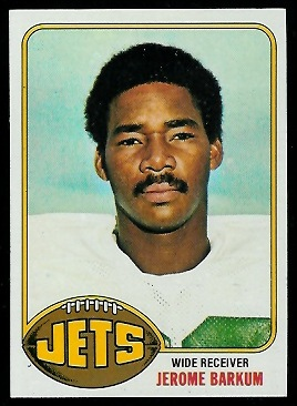 Jerome Barkum 1976 Topps football card