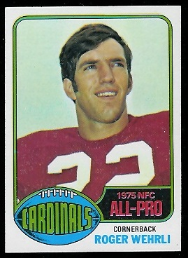 Roger Wehrli 1976 Topps football card