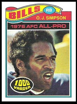 O.J. Simpson 1977 Topps football card