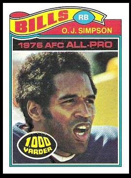 O.J. Simpson 1977 Topps football card