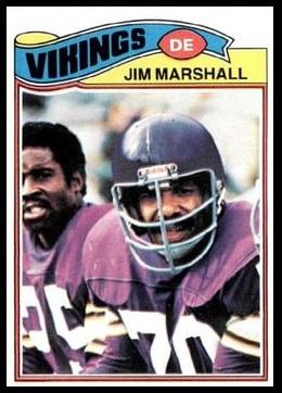 Jim Marshall 1977 Topps football card