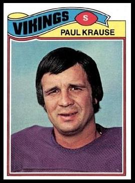 Paul Krause 1977 Topps football card