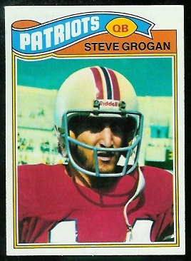 Steve Grogan 1977 Topps football card