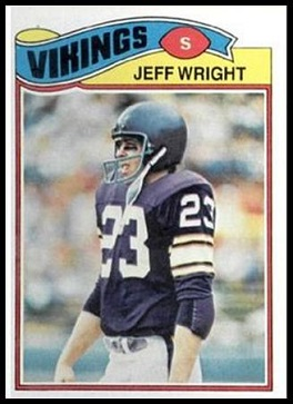 Jeff Wright 1977 Topps football card