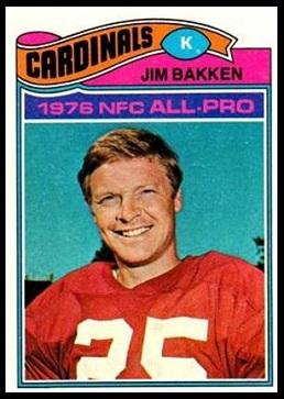 Jim Bakken 1977 Topps football card