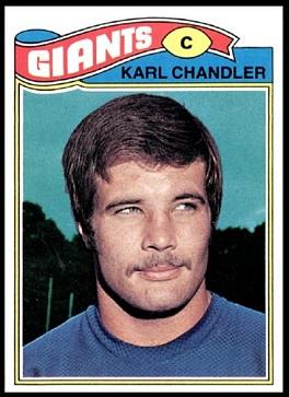 Karl Chandler 1977 Topps football card