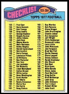 Checklist 133-264 1977 Topps football card