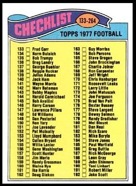 Checklist 133-264 1977 Topps football card