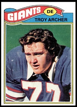 Troy Archer 1977 Topps football card