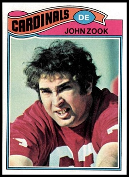 John Zook 1977 Topps football card