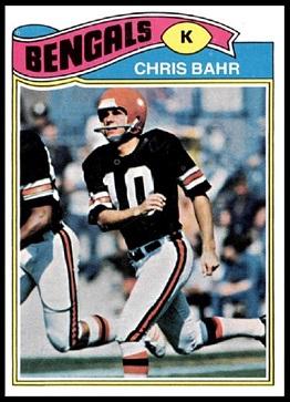 Chris Bahr 1977 Topps football card