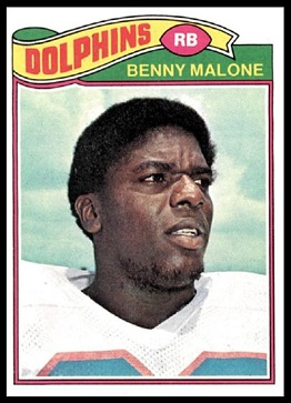 Benny Malone 1977 Topps football card