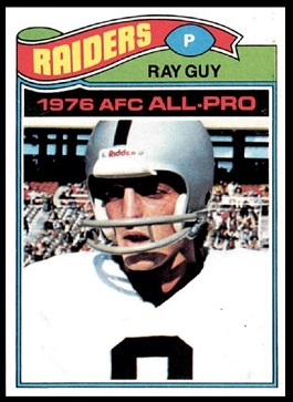 Ray Guy 1977 Topps football card