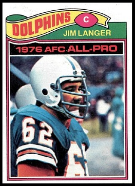 Jim Langer 1977 Topps football card