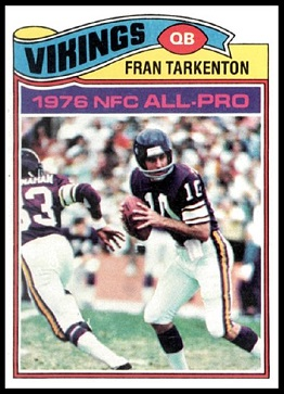 Fran Tarkenton 1977 Topps football card