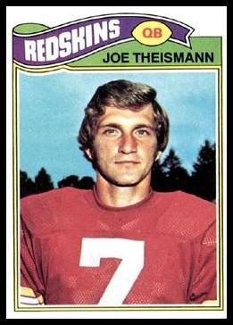Joe Theismann 1977 Topps football card