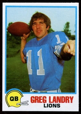 Greg Landry 1978 Holsum Bread football card