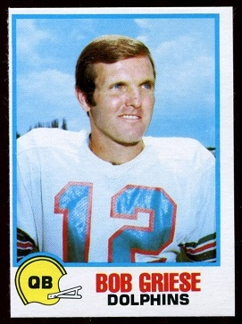 Bob Griese 1978 Holsum Bread football card