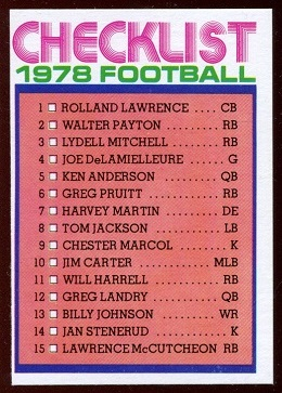 Checklist 1978 Holsum Bread football card