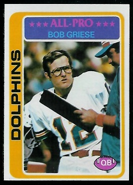 Bob Griese 1978 Topps football card
