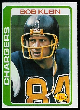 Bob Klein 1978 Topps football card