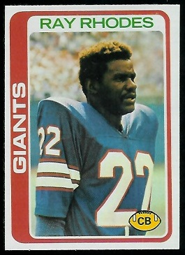 Ray Rhodes 1978 Topps football card