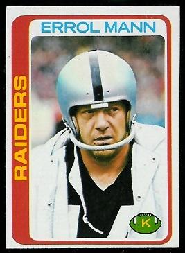 Errol Mann 1978 Topps football card