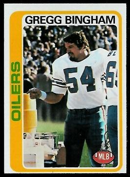 Gregg Bingham 1978 Topps football card