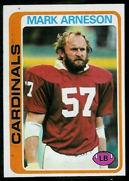 Mark Arneson 1978 Topps football card