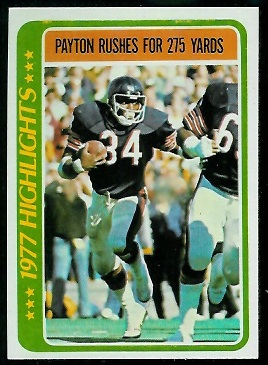 Payton Rushes for 275 Yards 1978 Topps football card