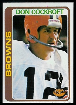 Don Cockroft 1978 Topps football card