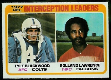 Interception Leaders 1978 Topps football card